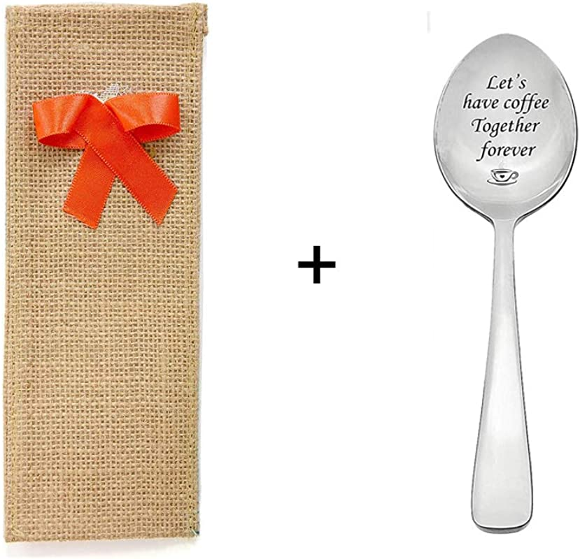 Engraved Spoon Burlap Combo 1 Unit Elegant Jute Fabric Pouch Heart Shape Lace Stamped Let S Have Coffee Together Forever Anniversary Valentine S Day Best Unique Gift Ideas For Him Her
