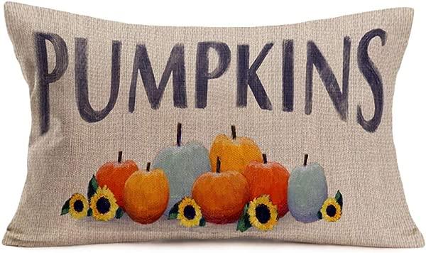 Aremetop Fall Farm Pumpkin Quote Home Decor Pillowcases Cotton Linen Autumn Farnhouse Watercolor Sunflower Pumpkins Decorative Throw Pillow Case Cushion Cover 12 X20