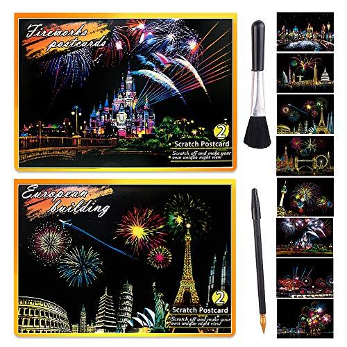 GLCS GLAUCUS 8 Stück 200x140 MM Kratzbilder Weltberühmte Sehenswürdigkeiten Nachtszene Postkarte DIY Kratzpapier Set Scratch Paper mit Werkzeug für Erwachsene Kinder (Attraktionen + Feuerwerk)