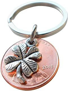 Clover Charm Layered Over 2013 Penny Keychain, 6 year Anniversary Gift, Couples Keychain