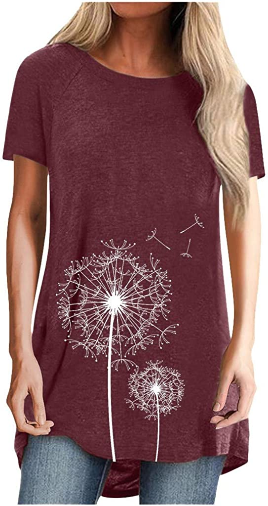 Tops for Women Lowest price Cheap mail order specialty store challenge Cute Dandelion Short Print Sleeve Casual Crewneck
