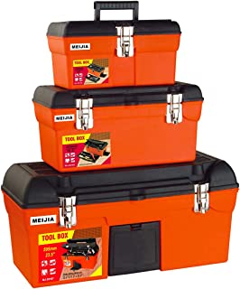 MEIJIA Portable 3-IN-1 Handle Tool Box Organizer Set Package With Handle And Latch,Orange And Black
