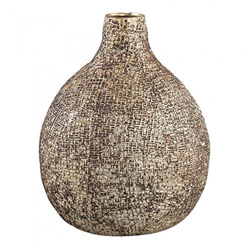 PTMD Vase Brew Champagne Céramique Pot Belly Round Large en céramique structurée - Dimensions : 25,5 x 20 x 20 cm