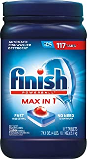 Finish Max in 1 Powerball, 117ct, Wrapper Free Dishwasher Detergent Tablets