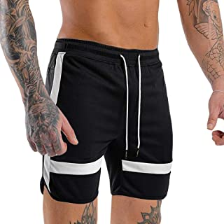 Men's Gym Quick Dry Workout Shorts Fitted Bodybuilding Short Breathable Training Running Shorts with Zipper Pockets