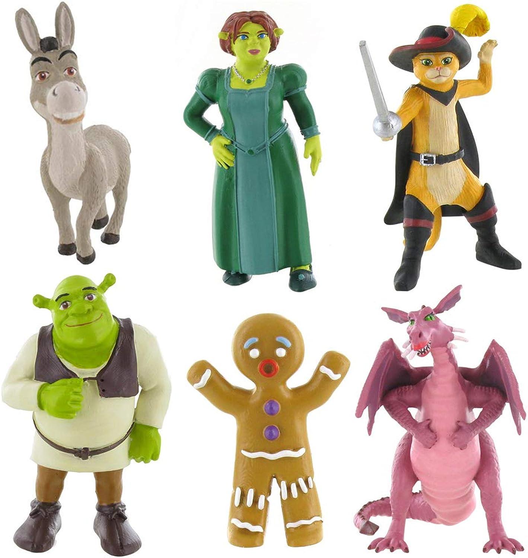 Shrek mini figure toys  Fiona, Shrek, Donkey and Puss in Boots (Shrek Fiona Donkey Puss Ginger Dragon)