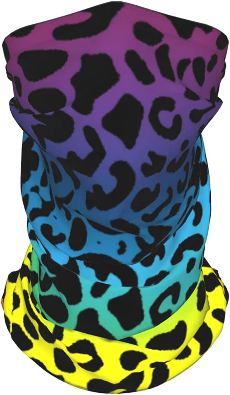 Colored Leopard Neck Gaiter Multipurpose Headwear Ice Silk Mask Scarf Summer Cool Breathable Outdoor Sport 2 Pcs
