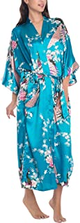 Wiwsi Women's Satin Robes Bridal Wedding Bridesmaid Bride Gown Kimono Robe Dress