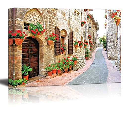 "Beautiful Scenery Landscape of Picturesque Lane with Flowers in an Italian Hill Town - Canvas Art Wall Decor - 16"" x 24"""
