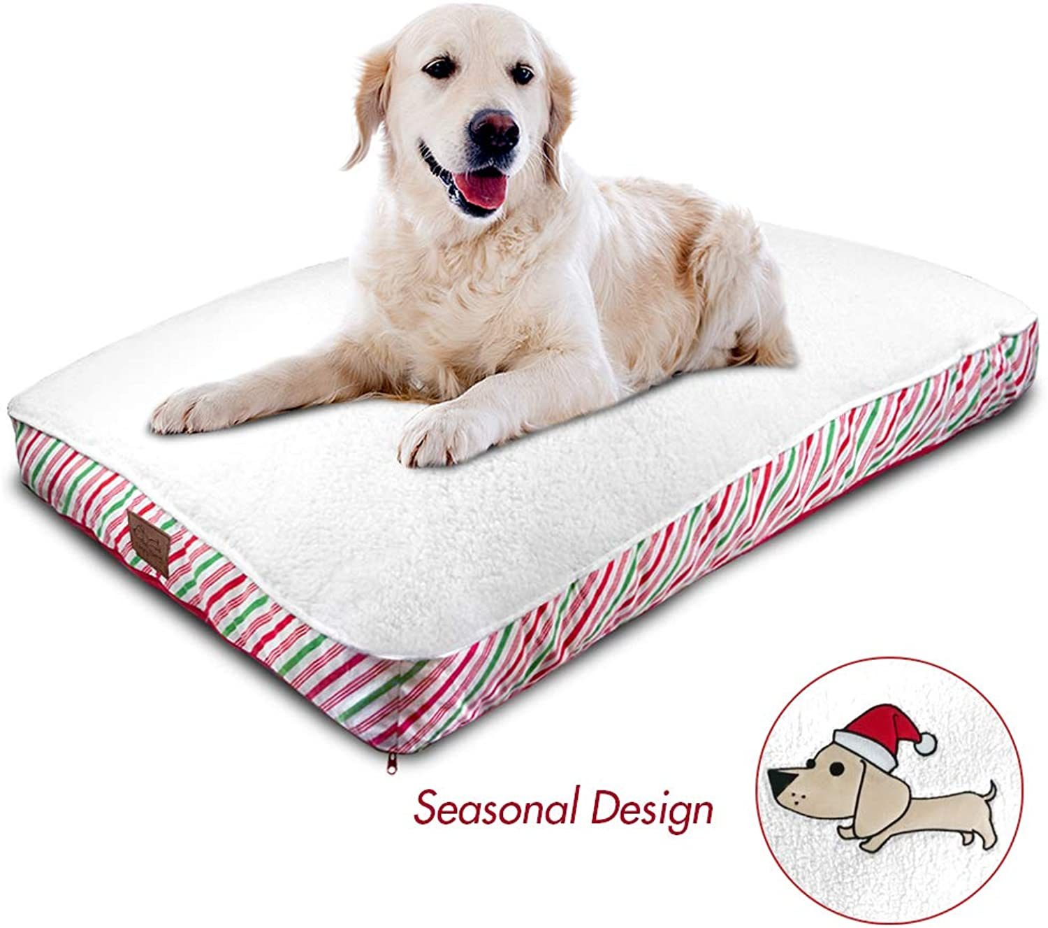 Floppy Dawg Extra Large Dog Bed with Christmas Dog Bed Cover   Stuffed to 6 Inches High with Memory Foam Pieces   for XL Dogs 80 Pounds and Up