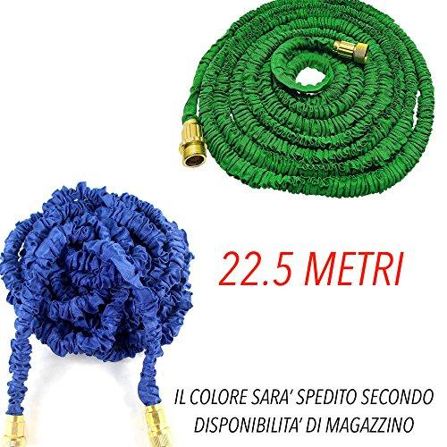 DOBO Tubo irrigazione estensibile da giardino elasticizzato aumenta la sua lunghezza iniziale con la pressione dell'acqua dotato di raccordi in acciaio e pistola multi getto - Colore Verde o Blu secondo disponibilità di magazzino (22.5 Metri)