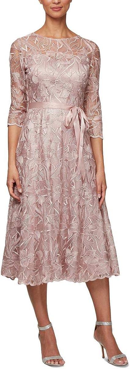 Alex Evenings Women's Tea Length Embroidered Dress Illusion Sleeves (Petite Missy)