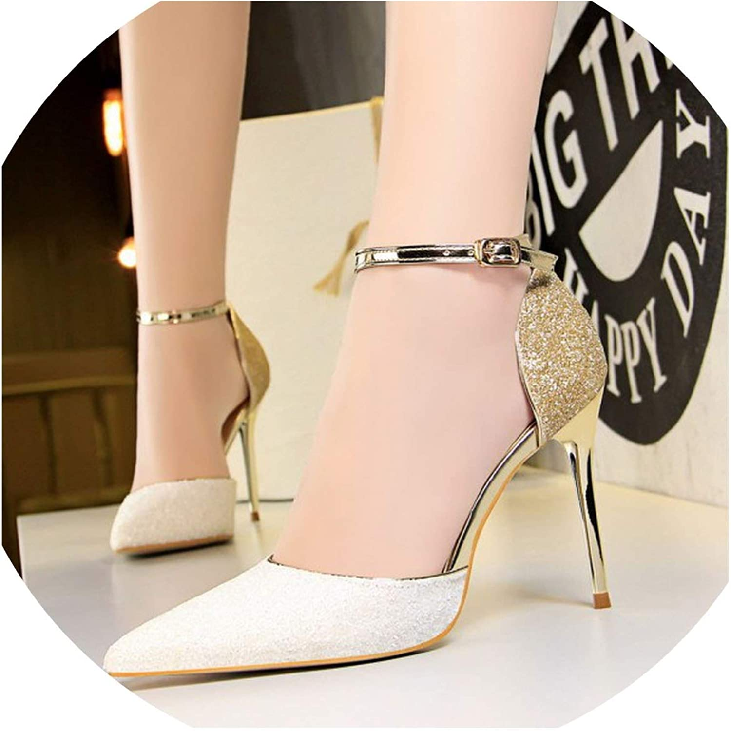 FINDYOU Fashion Bling Women Pumps shoes Pointed Toe Sexy High Heels T-Strap Nightclub Thin Heels Female shoes