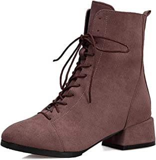 Lace Up Waterproof Women's Ankle Booties, Outdoor Winter Comfortable Snow Boots Heeled Non Slip Mid Rain Boots