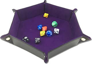 ELYTP Folding Hexagon Dice PU Leather Tray/Purple Velvet Valet Tray for Dungeons and Dragons Accessories RPG DND Dice Gaming Other Table Games and Storage(Purple)