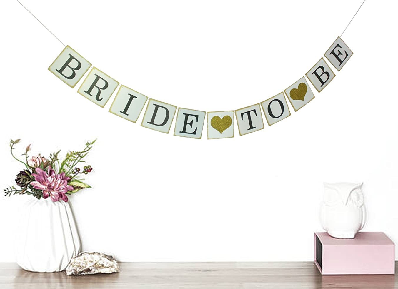 Bride To Be Banner with Gold Glitter Heart- Bridal Shower Decor - Bachelorette Party - Hens Party- Photo Props Signs