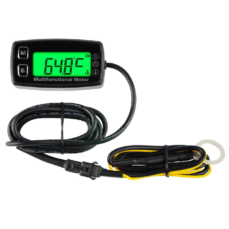 Yooreal Medidor de temperatura del motor digital con sensor de perno (φ5 mm x 30 mm), medidor de horas / RPM para el compresor del generador del tractor de la cortadora de césped(TS002)