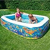 KOIUJ ファミリーインフレータブルスイミングプール、赤ちゃん緊縛プール、夏大人バース、子供海ボールプール、229X152X56cm