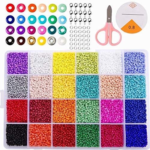 MEIRUIER 24000 Cuentas de Colores 2mm Mini Cuentas de Cristal para los niños DIY Bracelet Arte y joyería-Making, Cadena de Cuentas de fabricación de Juego, Fadeless Color (24 Color)