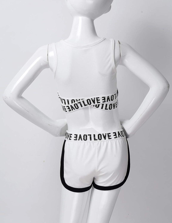 Kaerm M/ädchen Sportanzug Buchstaben Druck Sportwear /Ärmellos Bauchfrei Top Slim Fit Kurze H/öschen Anzug Sommer Bekleidungssets