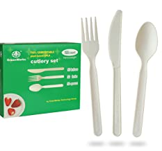 """GreenWorks 100% Compostable 7"""" CPLA Cutlery Set,150 Ct(50 Forks,50 Spoons,50 Knives) Heavyweight Large Disposable Biodegra..."""
