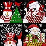 Ginfonr 4 Pack 5D Diamond Painting Full Drill Snowman Polar Bear Santa Christmas Gift, Xmas Present Rhinestone Embroidery Craft Paint with Diamonds Art DIY Wall Decor 30x30 cm (12x12 inch)