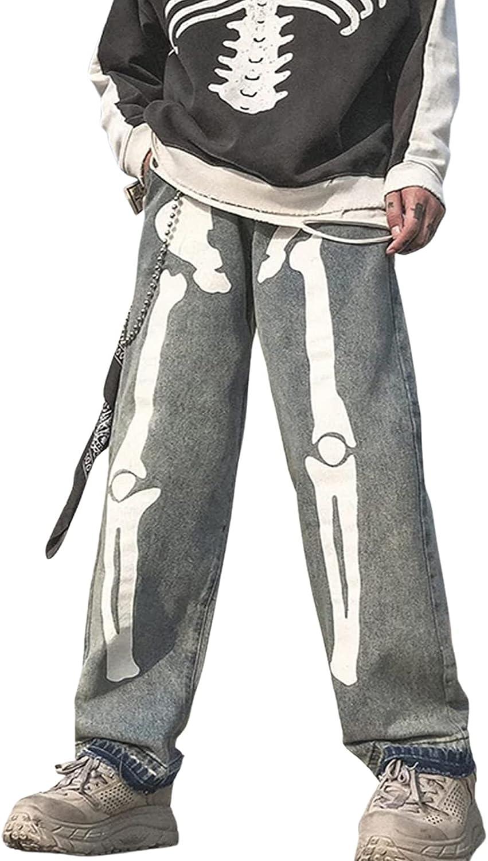 Women's Skeleton Printed Max 59% OFF Jeans Wide Leg Pants free Vintage Baggy Y2k