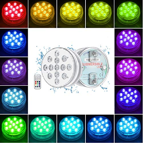 Underwater Light GolWof 2 Pack 13-LED Submersible Light RGB Multicolor Light IP68 Waterproof with RF Remote Control Decoration Light for Dining Table Vase Base Fish Tank Pool Party Halloween Xmas