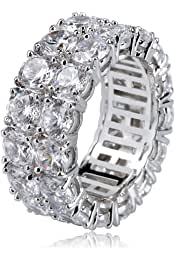 Bishilin Silver Plated Rings for Men Red Gem Cubic Zirconia Friendship Rings Silver Size 6.5