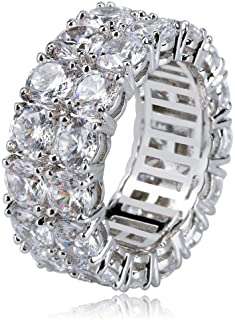 d0f2e6c3c971e2 TOPGRILLZ 9mm 2 Rows Round Cut 14K Gold and Silver Plated Iced Out CZ Lab  Diamond