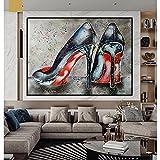 Street Graffiti Art Zapatos de tacón alto Imprimir Pinturas al óleo Lienzo Póster de pared Impresiones Imagen de pared abstracta para sala de estar Decoración del hogar / 50x60cm Sin marco