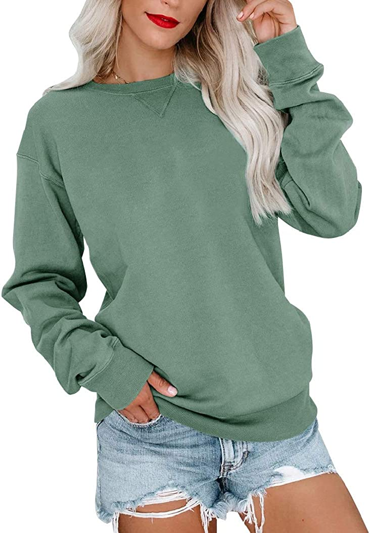 Bingerlily Womens Casual Long Sleeve Sweatshirt Crew Neck Cute Pullover Relaxed Fit Tops