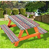 Aztec - Mantel ajustable para mesa de picnic y banco, diseño de flores, diseño de flechas de pájaros y flores, 70 x 72 cm, juego de 3 piezas para camping, comedor, exterior, parque, patio