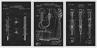 Doctor's Equipment Patent Prints Set Of 3 - Hypodermic Needle - Thermometer - Blood Pressure Monitor Art Poster Nurse - Medical Student Patent Prints