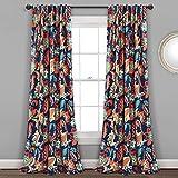 Lush Decor, Navy Zara Jacobean - Paneles de cortina para ventana, 2 piezas, (241 x 132 cm)