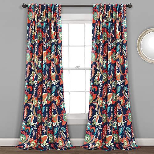 "Lush Decor, Navy Zara Jacobean Room-Darkening Window Curtain Panels, 2-Piece, (84"" x 52"")"