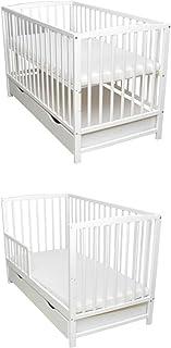 Rundum Lit de bébé 2 en 1 - 120 x 60 cm - Blanc - Mousse de coco, sarrasin, transformable en tiroir