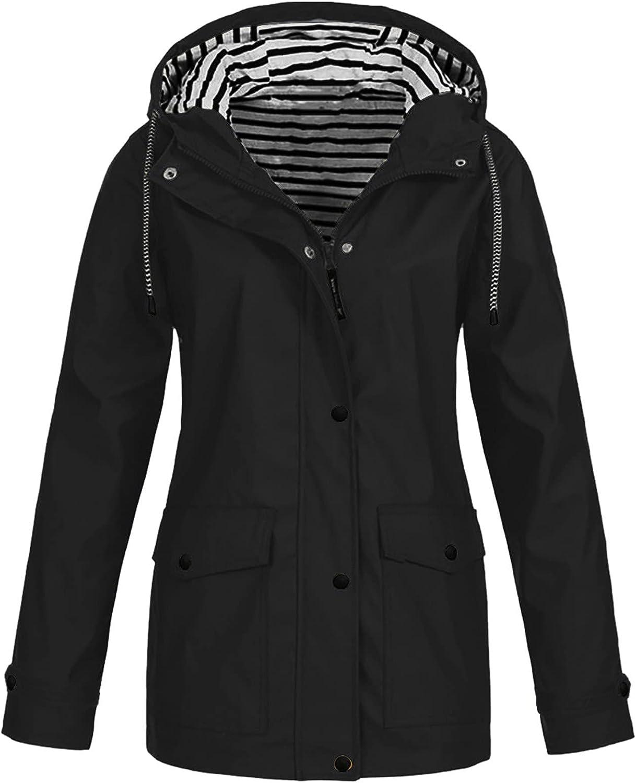 Afelkas Rain Jackets for Women Waterproof Plus Size Outdoor Hoodie Solid Drawstring Long Sleeve Raincoat Full Zip Tunics