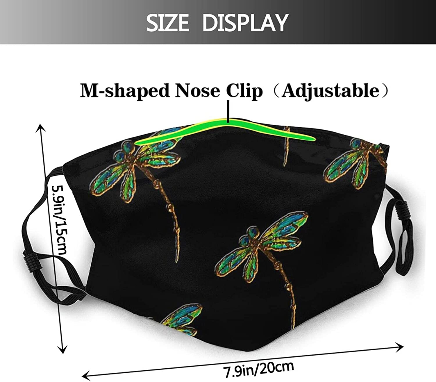 Kegill Dragonfly Face Mask,Unisex Balaclava Face Mask Comfortable Washable Reusable Cloth Fashion Scarf with Filter