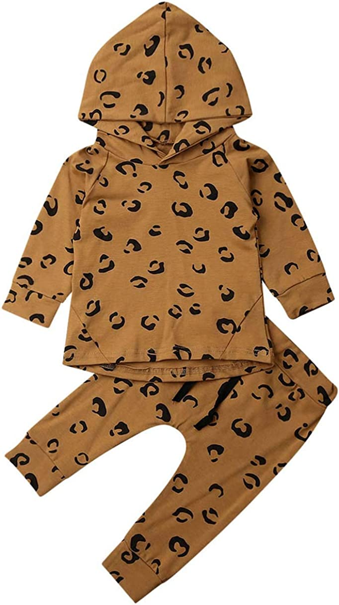 Toddler Baby Boys Girls Leopard Fort Worth Mall T-Shirt Outfit Tops+ Long Fashionable Sleeve