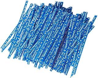 ラッピングタイ ビニタイ 手作り ワイヤータイ プレゼント ギフト 包装用 結束用 約200本セット (ブルー)