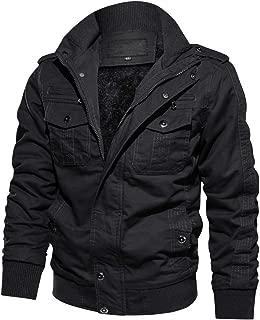 CRYSULLY Men's Winter Casual Thicken Multi-Pocket Field Jacket Outwear Fleece Cargo Jackets Coat