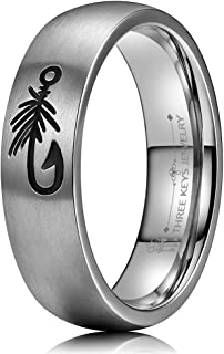 6mm 8mm Fly Fishing Fishhook Engraved Mens Titanium Wedding Band Outdoor Hunting Rings