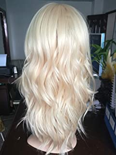Blonde Mid-Length Wig Hand Made Curl Wigs Shoulder Length Synthetic Hair Wigs for White Women (613)