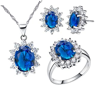Uloveido Women Jewelry Necklace Earrings and Ring Set with Cubic Zirconia Crystals T466