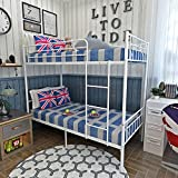 Panana 2 x 3FT Single Metal Bunk Bed 2 Persons Bed Frame Children Twins Bedroom Furniture (White Bunk Bed)