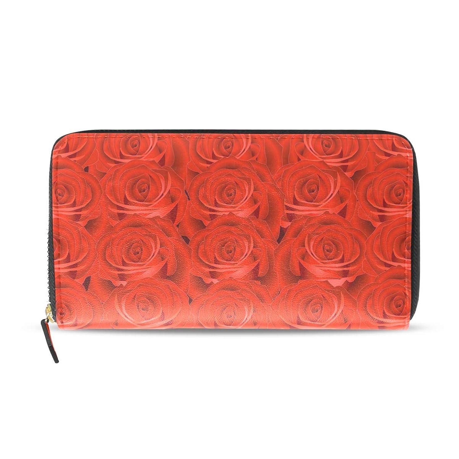 致命的並外れて変装したAOMOKI 長財布 財布 ラウンドファスナー 北欧 ギフト プレゼント PU レザー 大容量 通学 通勤 旅行 幅20*丈11cm 薔薇柄 赤 花柄