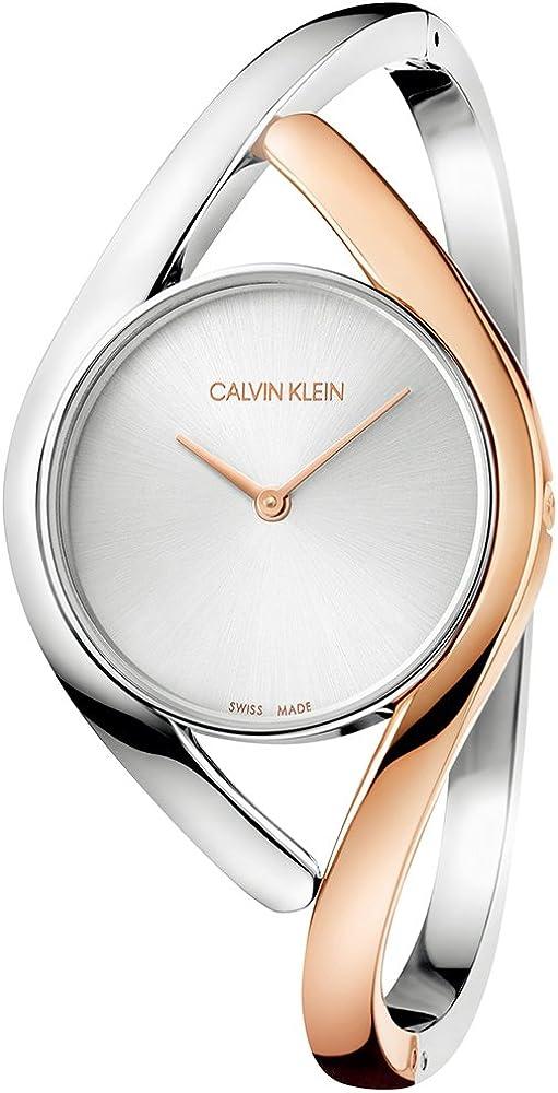 Calvin klein, orologio analogico al quarzo per donna,  in acciaio inossidabile bicolore K8U2MB16