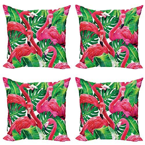 ABAKUHAUS Flamenco Set de 4 Fundas para Cojín, Hojas Retro exóticas, Estampado Digital en Ambos Lados y Cremallera, 60 cm x 60 cm, Rosa Verde