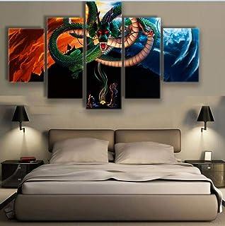 UYEDSR Lienzo 5 Partes de Panel Impresiones Dragón Sagrado Legendario Chino Dragón Dios Dragón Wukong Dragon Ball la decor...